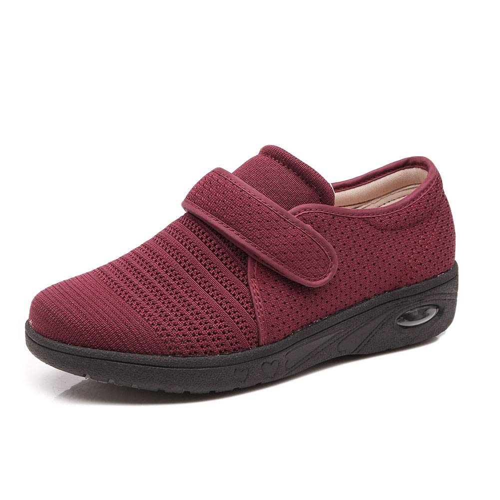 Secret Slippers Women's Air Cushion Breathable Adjustable Walking Shoes Comfy Elderly Outdoor Sneakers for Diabetic Orthopedic Edema Red