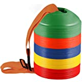 KEVENZ 50-Pack 2 inch High Soccer disc Cones,Multi color Cone for Agility Training, Soccer, Football, Kids, Field Marker