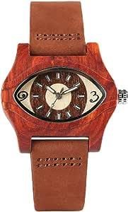 turco ojo turco, pulseras de madera relojes mujer mujer correa de cuero genuino, pulsera de bambú reloj de pulsera