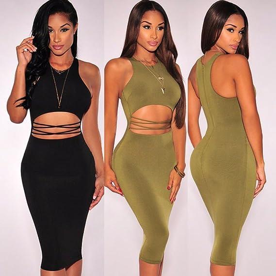 Carolina Dress Vestidos De Fiesta Sexys Cortos Casuales Ropa De Moda Para Mujer De Noche Elegantes Verdes y Negros DR00340 at Amazon Womens Clothing store: