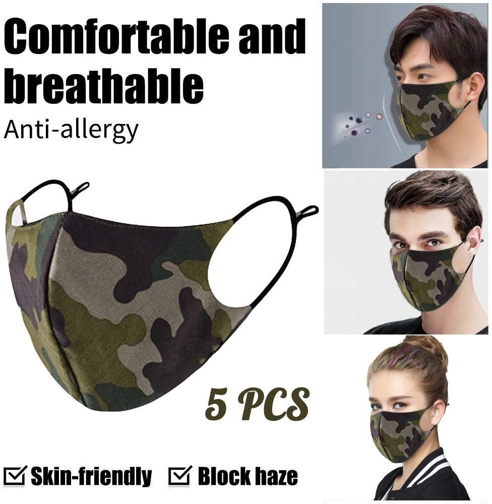 10 Pcs Anti-dust Face Bandanas Washable Reusable Mouth Protection Print Earloops Adjustable Length Quick-drying for Men Women Outdoors
