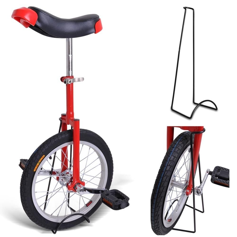 16'' Inches Wheel Skid Proof Tread Pattern Unicycle W/ Stand Uni-Cycle Bike Cycling Red