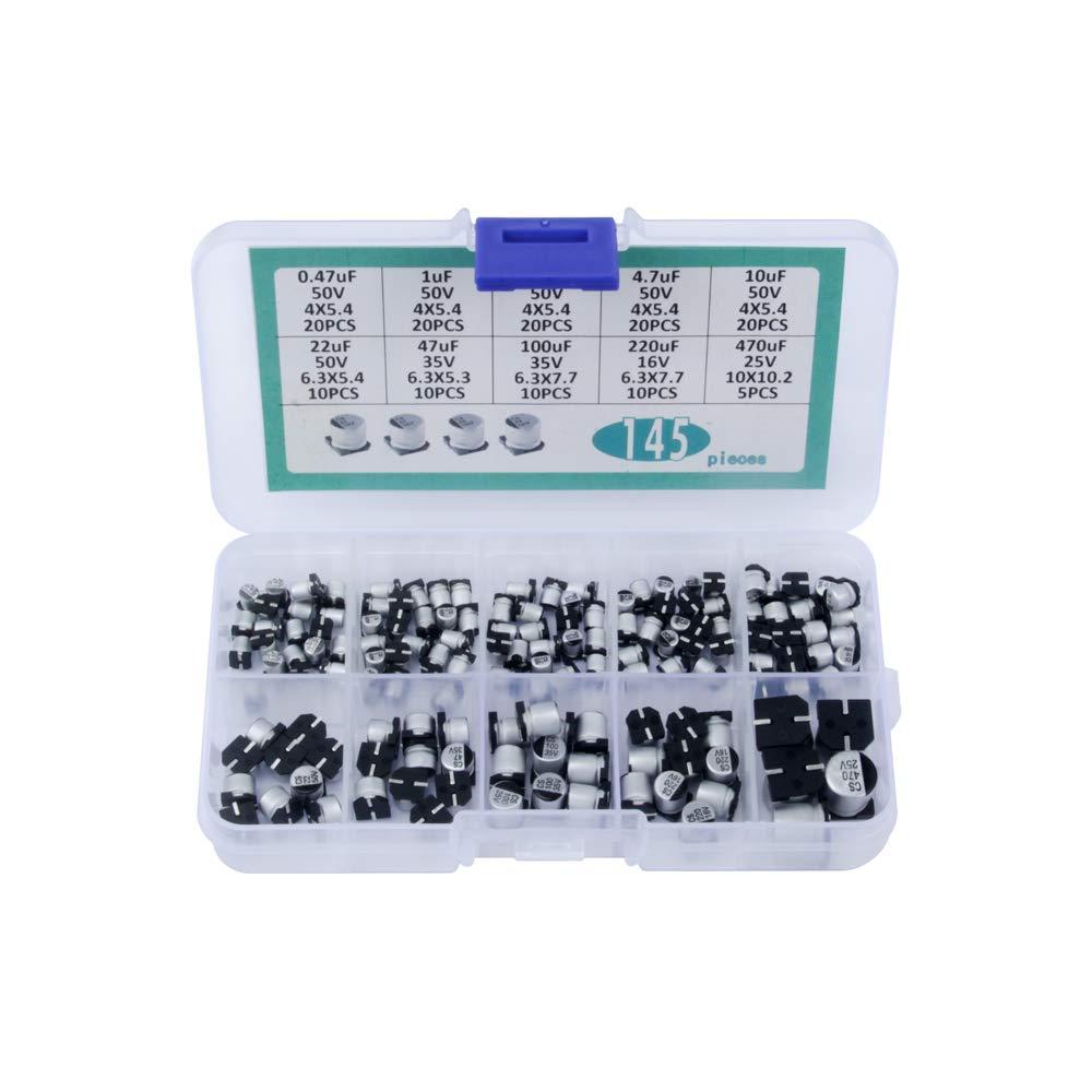 TeOhk 10Value 145Pcs 0.47uf-470uf Kit de Surtido de Capacitores Electrol/íticos de Aluminio con Gran Capacidad