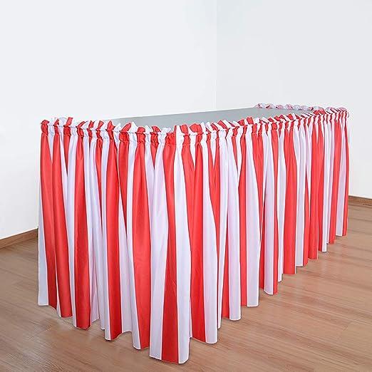 UKNANY falda de mesa plisada a rayas rojas y blancas de 1,8 m para ...