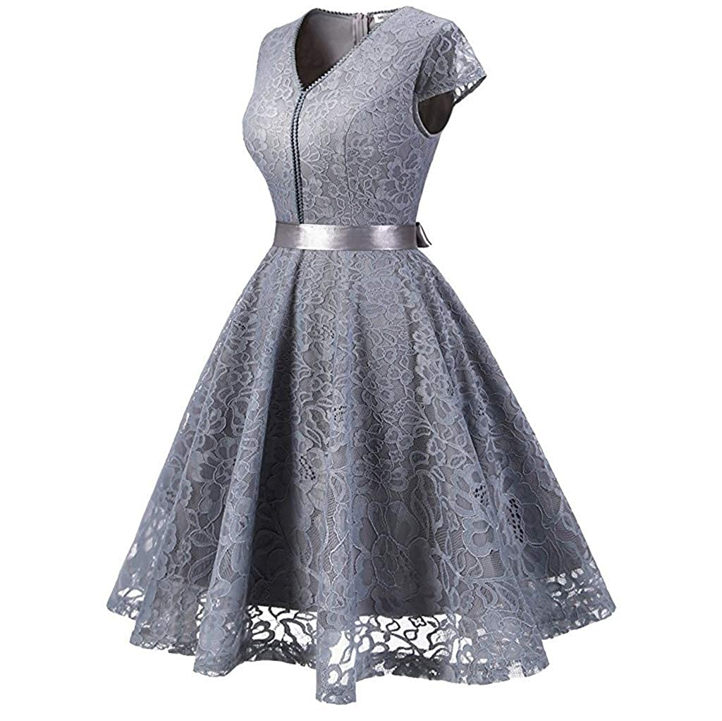 Mlide Womens Retro Dress Short Sleeve Paneled Lace Lace Belted Dress V-Neck Dresses Semi Formal Party