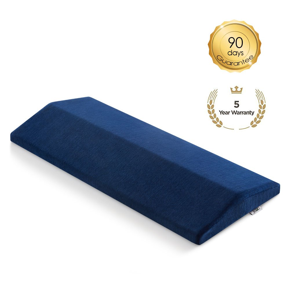 Jiaao Memory Foam Lumbar Support Pillow Soft Sleeping Pillow for Lower Back, Leg, Knee & Hip Pain Relief, Orthopedic Bed Cushion for Back & Side Sleepers, Including Remoable Cover with Zipper,Navy