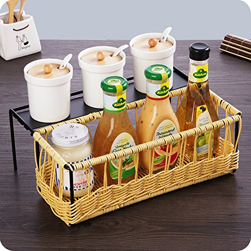 Home Rattan Woven Storage Baskets, Kitchen Spice Rack, Bathroom Cosmetic Make Up Beauty Supplies Organizers, Office Desk Organizers (Rattan Suitcase)