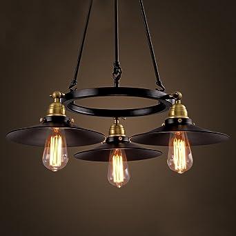Aiwen Retro lámparas rústicas Negro Convencional Lámparas Negro(3 Soportes para lámparas)