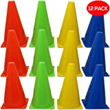12 Multicoloured Sport Marker Traffic Cones, 9 Inches - Durable Plastic - Versatile - Ideal for Football, Soccer, Sports Training, Games, Dog Training| Home Outdoor Gym