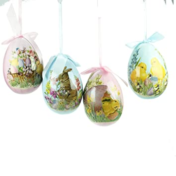 Set Of 4 Large Vintage Style Easter Decorations 14cm