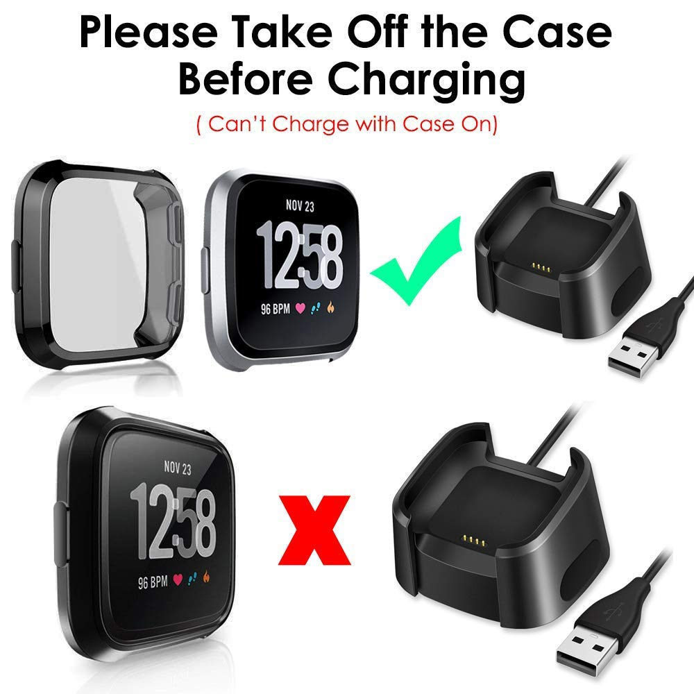 Black+Clear+Rose Gold +Silver Soft TPU Plated Slim Full Coverage Screen Protective Bumper Cover CAVN 4 Pack Screen Protector Case Compatible with Fitbit Versa//Versa SE Smartwatch