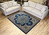 "Navy Blue Area Rug 4'9"" x 6'10"" Vintage Medallion Persian Design Traditional Oriental Area Rugs Modela Collection"