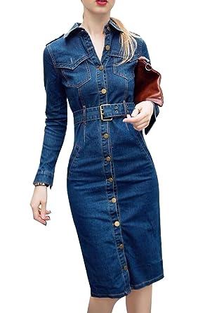 cdaa3664ce Oberora Womens Long Sleeve Lapel Button Front Slim Denim Dress With Belt 1  XS