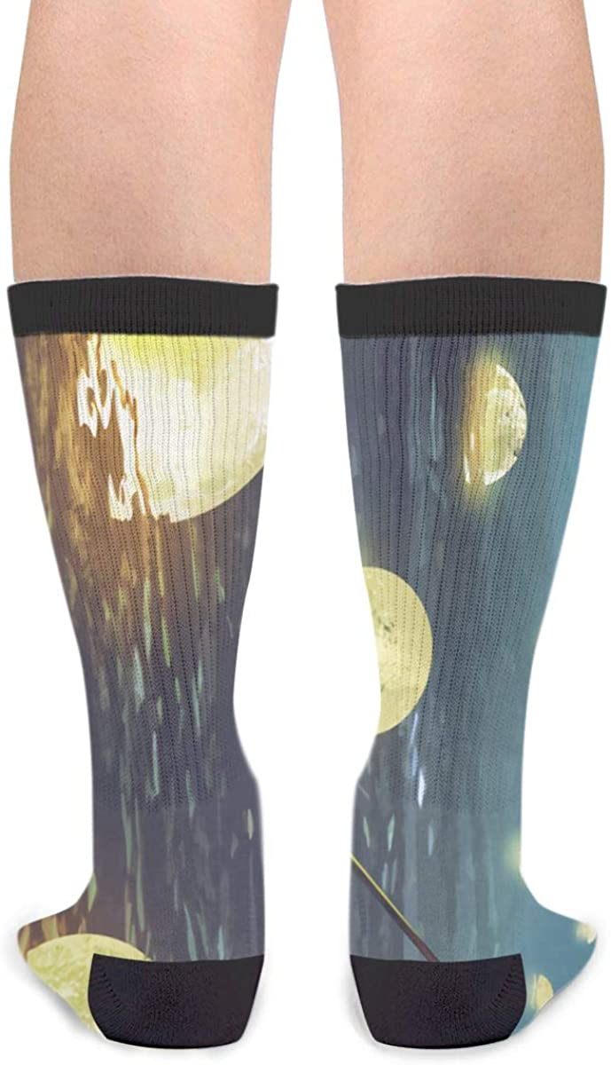 YISHOW Night Scenery Of A Man Rowing A Boat Among Many Glowing Moons Floating On The Sea Athletic Socks Party Accessory