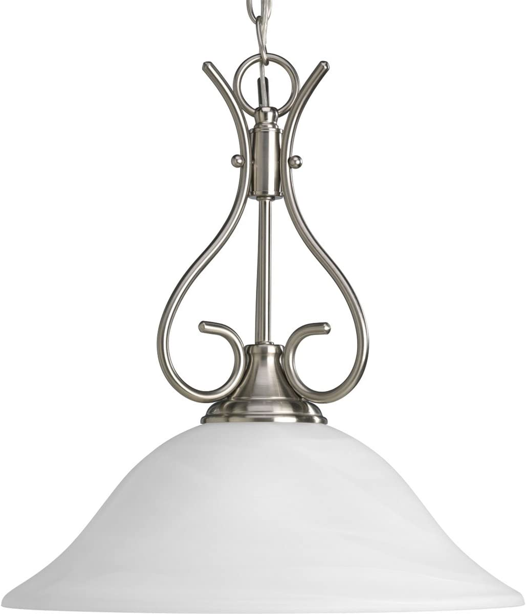 Progress Lighting P5091-09 Alabaster Glass Pendants, 15-3/8-Inch Diameter x 16-1/2-Inch Height, Brushed Nickel