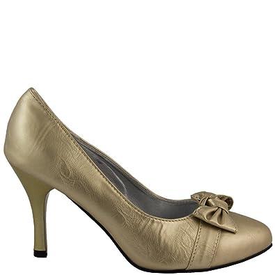 Rasalle Paris Luxus Pump Damenschuhe mit Schleife in Gold Metallic-Look 9cm Pfennigabsatz Stiletto Leder Optik...