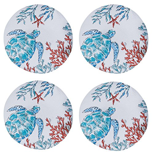 (Maritime Sea Turtles in Coral Braided Placemats Kitchen or Dining Room Set of 4 )
