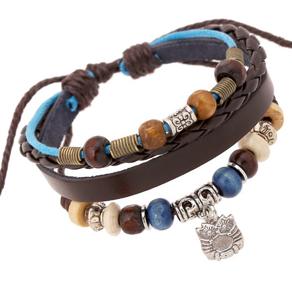 TEMEGO Jewelry Mens Womens Alloy Genuine Leather Surfer Wrap Bracelet, Vintage Beads Gothic Owl Charm Cuff Bracelet, Adjustable Fits 7-12 Inch, Brown Blue Silver