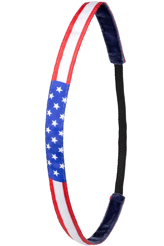IVY804 Das Anti-Rutsch Haarband Stars and Stripes Rot Weiss Blau Sterne Amerika, Ivybands /® USA 1,2 cm Breite   One Size