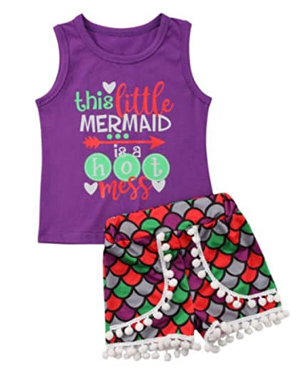 e2027fc4a361 Amazon.com: BANGELY Kids Baby This Little Mermaid is Hot Mess Letters Print  Vest T-Shirt+Fish Scale Tassel Shorts Set: Clothing