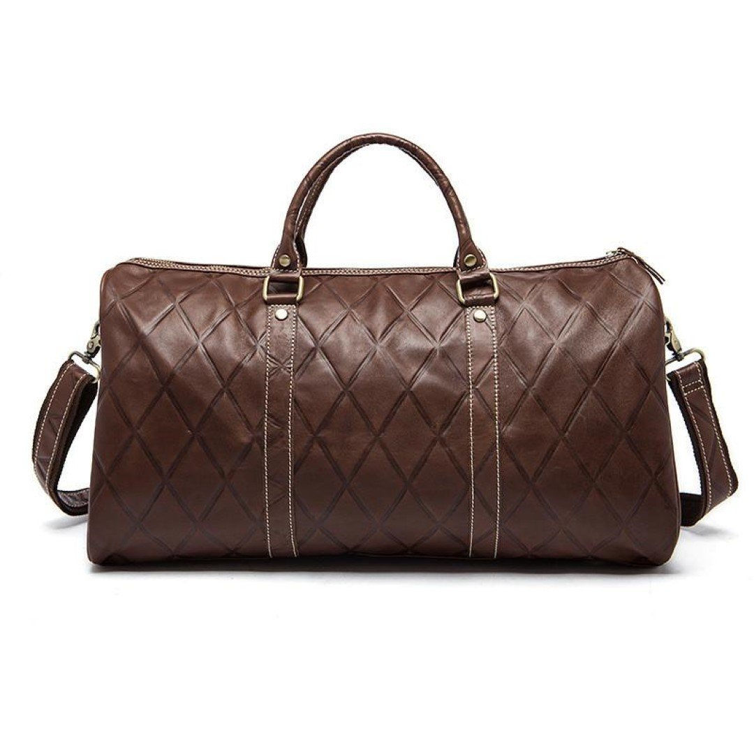 Men's Leather Travel Weekender Duffel Bag With Cross Stitch Pattern - Brown