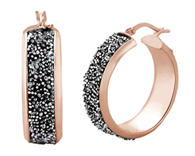 Amazon Com Pave Set Round Cut Simulated Black Spinel Hoop Earrings