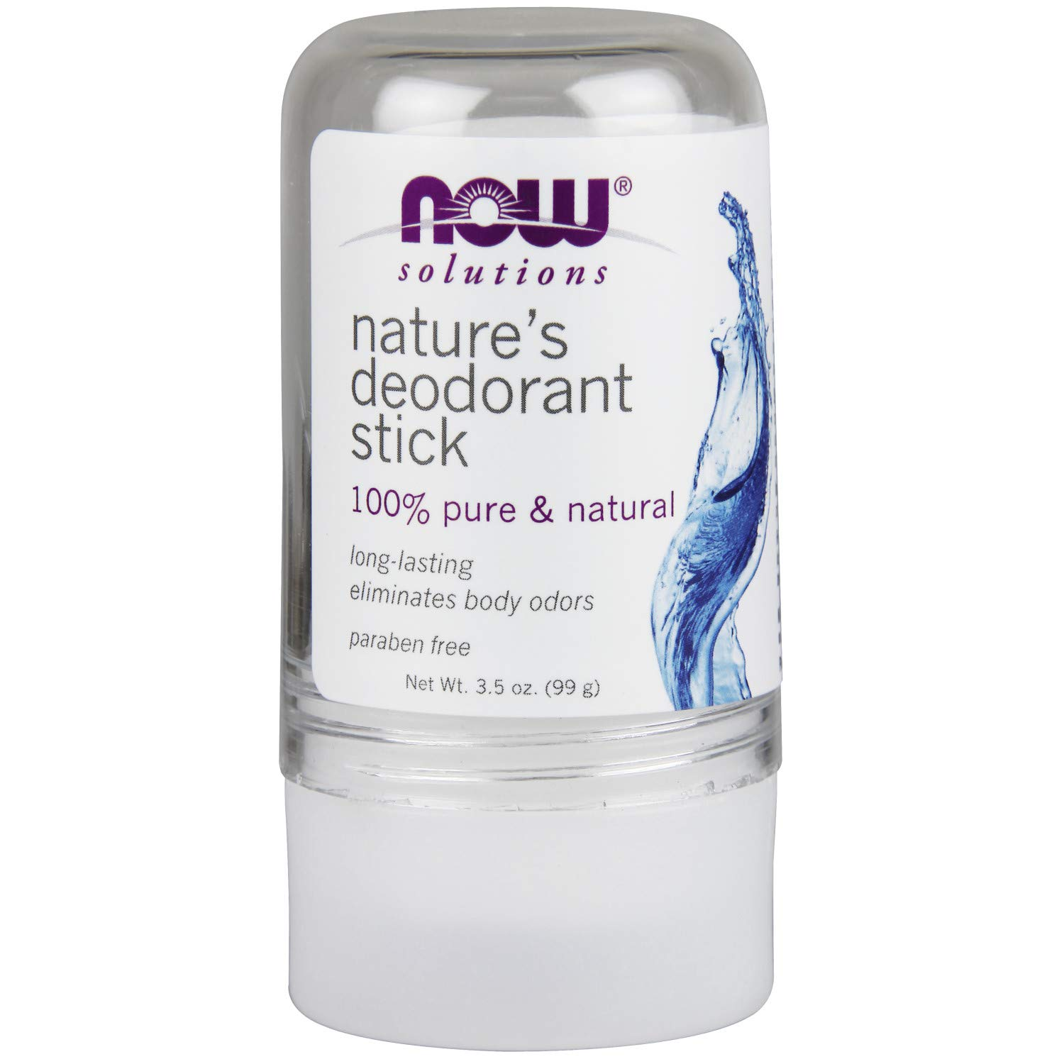NOW Solutions, Nature's Deodorant Stick, Deodorant Stone, 100% Pure and Natural, Long-Lasting Body Odor Elimination, 3.5 oz.