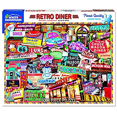 White Mountain Puzzles Retro Diner - 1000 Piece Jigsaw Puzzle: Toys & Games