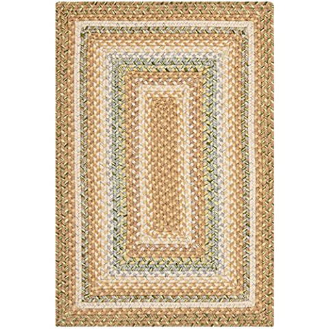Safavieh Braided Collection BRD314A Hand Woven Tan and Multi Area Rug (2' x 3') (Cotton Area Rugs 2x3)