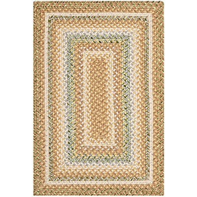 Safavieh Braided Collection BRD314A Hand-woven Reversible Area Rug, 2' x 3', Tan/Multi - These rugs are made from a high-quality cotton pile, providing comfort and softness to the touch Each rug is fully reversable, to add value and longevity These rugs feature transitional patterns and vibrant colors to match any décor - living-room-soft-furnishings, living-room, area-rugs - 614xAVVL2FL. SS400  -