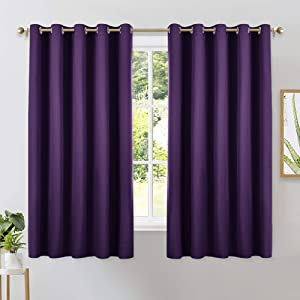 NICETOWN Thermal Insulated Blackout Draperies Curtains, Triple Weave Home Decoration Solid Ring Top Blackout Drape Panels for Bedroom (Set of 2, 70 x 63 inches, Royal Purple)