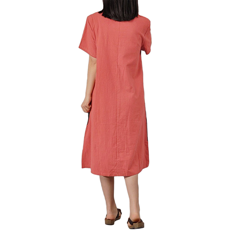 5a787996fa Baqijian 4XL 5XL Plus Size Womens Cotton Vintage Summer Dress Contrast O  Neck Short Sleeve Splice Mid-Calf Casual Loose Dress Dark Grey XXL at  Amazon ...