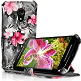 iGadgitz 'Vintage Collection' Folio Pink on Black Floral PU Leather Case Cover for Motorola Moto G 2nd Generation 2014 XT1068 (G2) with Multi-Angle Viewing Stand + Auto Sleep/Wake + Screen Protector