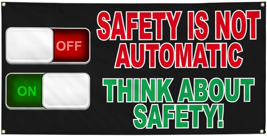 Vinyl Banner Sign Safety is Not Automatic Black Red Outdoor Marketing Advertising Black Set of 2 4 Grommets 28inx70in Multiple Sizes Available