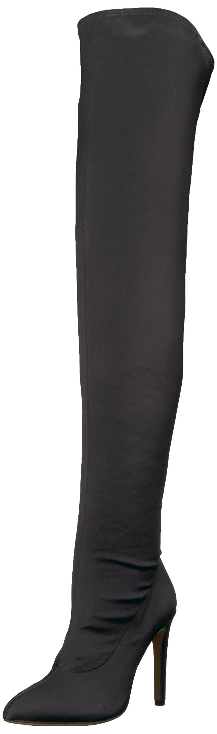 The Fix Women's Mia Pointed-Toe Thigh-High Sock Boot, Black, 8 B US