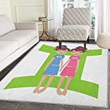 Zodiac Gemini Non Slip Rugs Green Sign Background with Twin Girl Cartoon Characters for Teens and Kids Door Mats for inside Non Slip Backing 3'x4' Multicolor