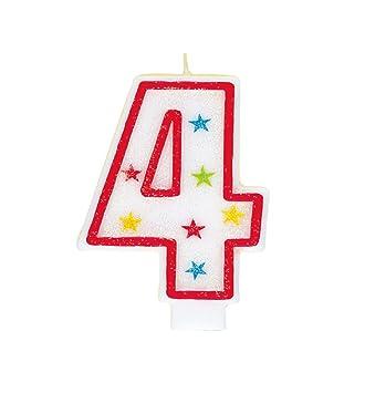 Número 4 del brillo cumpleaños Vela y torta del feliz cumpleaños Decoración