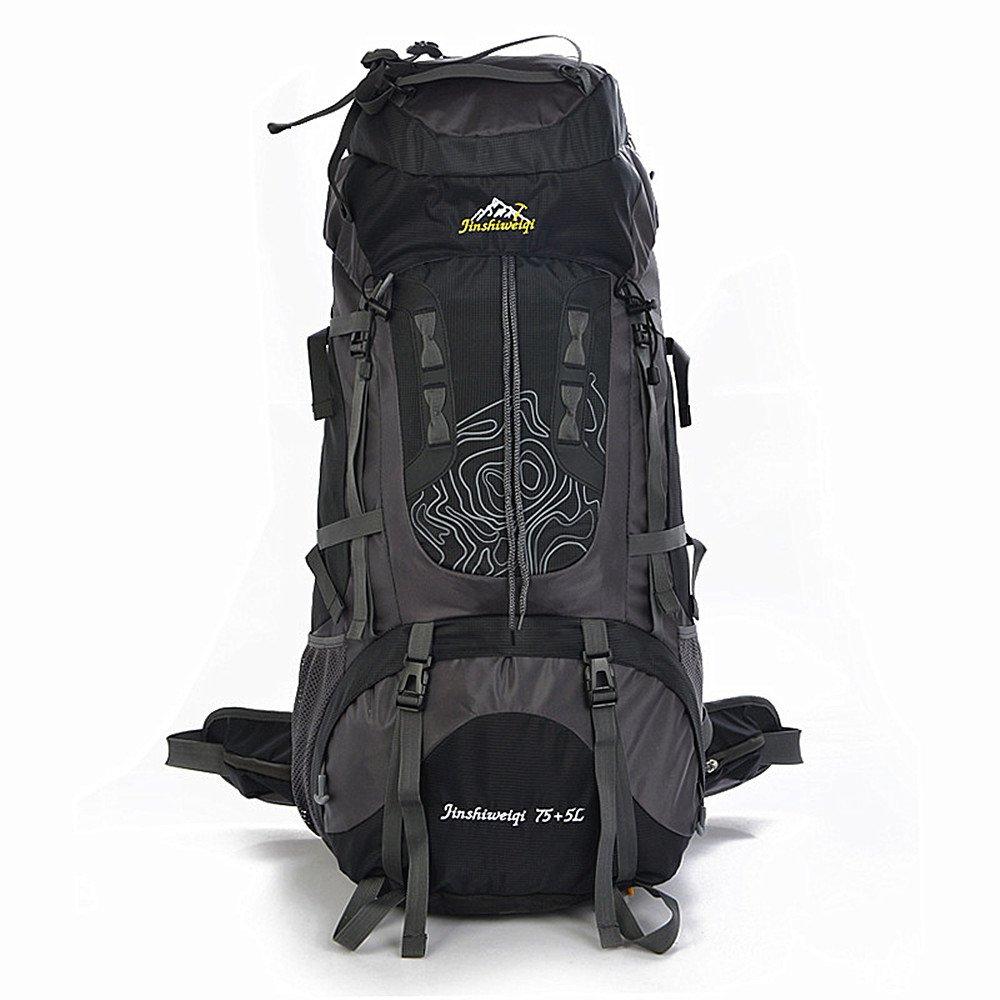 YHDD 登山用バックパック防水大容量通気性サスペンションブラケット多目的ショルダーウォーキングワイルドキャンプ用ユニセックスウォーキングアウトドアスポーツに適した (色 : ブラック) B07PY1957W ブラック