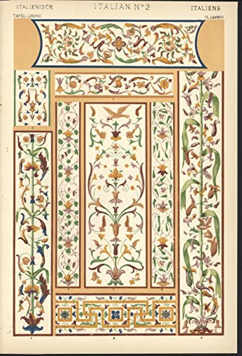 Italian No 2 decorative 1856 antique color lithograph design print