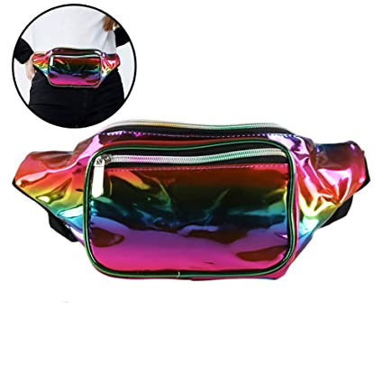 d1e2c511dec0 Holographic Waist Fashion Glitter Fanny Pack for Women and Men Waterproof  Travel Packs Bum Purse Bags Rave, Festival, Hiking Rainbow3