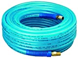 Amflo 12-100E Blue 300 PSI Polyurethane Air Hose 1/4'' x 100' With 1/4'' MNPT Swivel Ends And Bend Restrictor Fittings