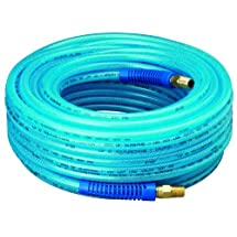 """Amflo 12-100E Blue 300 PSI Polyurethane Air Hose 1/4"""" x 100' With 1/4"""" MNPT Swivel Ends And Bend Restrictor Fittings"""