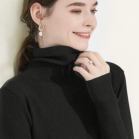 Cuello Alto de algodón Ligero for Mujer Suéter Holgado de Manga Larga de Color sólido (Color : Black, tamaño : S): Amazon.es: Deportes y aire libre