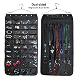 Mligo Hanging Jewelry Organizer With 40 Storage Pockets 20 Hook and Loops For Necklace-Black