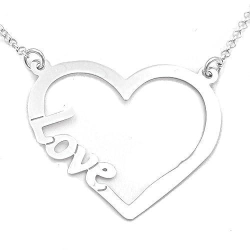 509bc735b699 Teresa Barrio - Gargantilla símbolo de amor con colgante corazón silueta  LOVE mujer chica