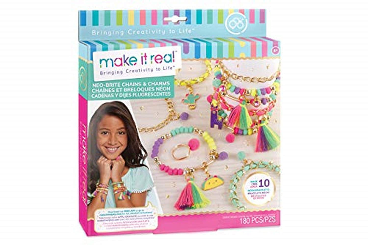 and Gold Chains Arts and Crafts Kit to Create Unique Tween Bracelets with Neon Beads Unique Pom Charms DIY Gold Chain Charm Bracelet Making Kit for Girls Make It Real Neo-Brite Chains /& Charms