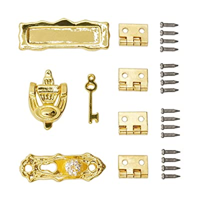 Odoria 1:12 Miniature Door Plate Knocker Lock Key and Hinge Screw Set: Toys & Games