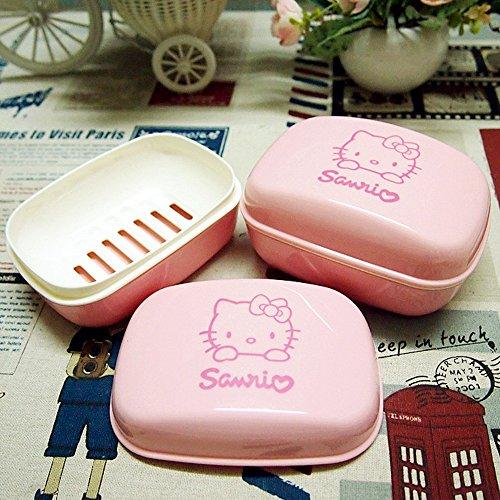 [Hellokitty Waterproof Soap Box with Lid Pink] (Hello Kitty Soap Dish)