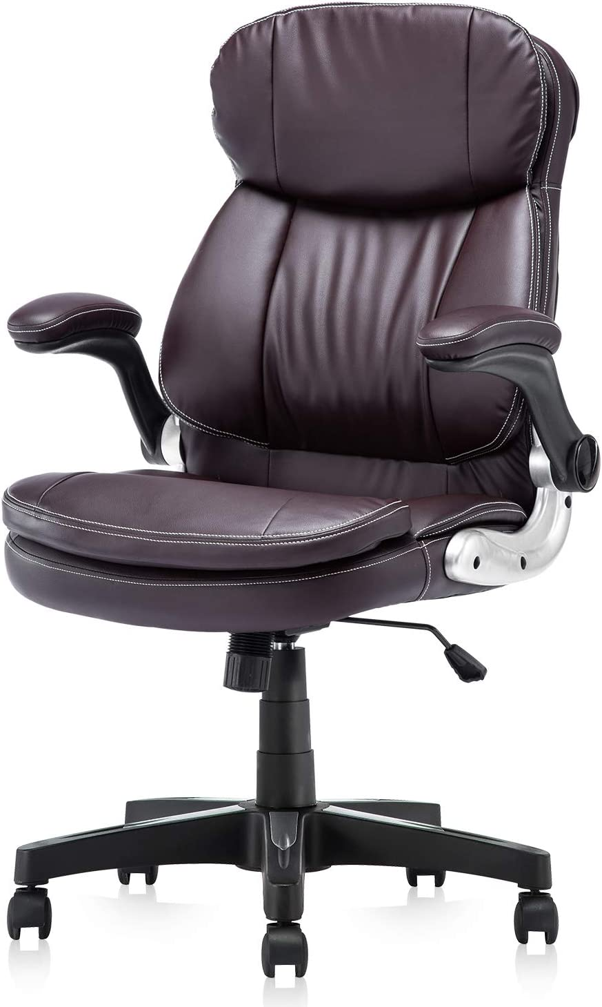 KERMS High Back PU Leather Executive Office Chair, Adjustable Recline Locking Flip-up Arms Computer Desk Chair, Thick Padding and Ergonomic Design for Lumbar Support Brown
