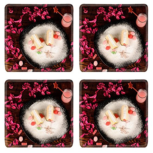 - Luxlady Square Coasters Non-Slip Natural Rubber Desk Coasters Wafer candy in an attractive decoration for kids IMAGE ID 25772949